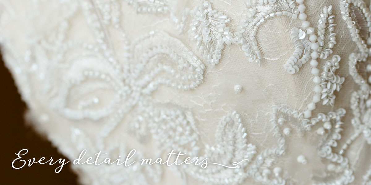 Bridal Gown Beaded Bodice Detail