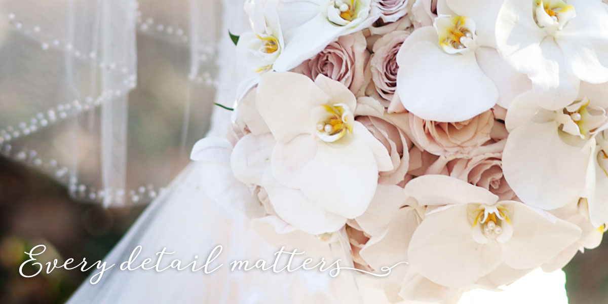 Bridal Bouquet Orchids and Veil Detail